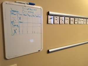 "Gratuitous shot of the aforementioned ""speed rail"" and our high tech workout tracking system."