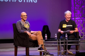 Satya during a lighter moment at the Grace Hopper event.