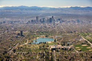 An aerial view of Denver, one of the largest cities (land mass) in the US.