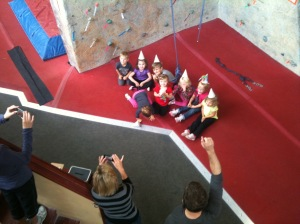 That's me in the grey and black- totally mental, throwing a CLIMBING WALL party for 4 year olds.